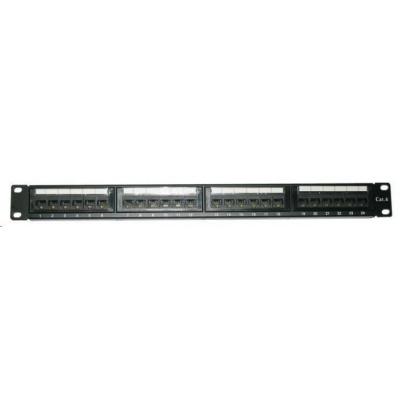 """19"""" Patch panel XtendLan 24port, UTP, Cat6, 30µm, duální svorkovnice, černý"""