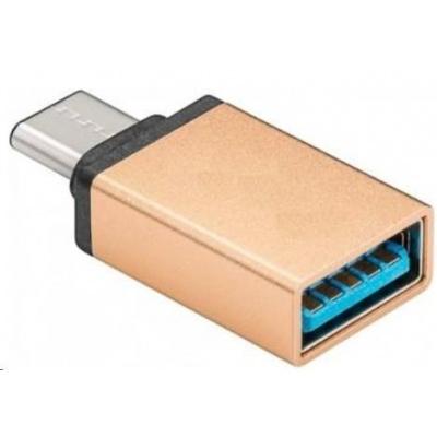 PREMIUMCORD Adaptér USB 3.1 C/male - USB 3.0 A/female, zlatý, OTG