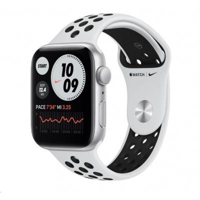 APPLE Watch Nike SE GPS, 44mm stříbrné hliníkové pouzdro + platinový/černý Nike sport řemínek