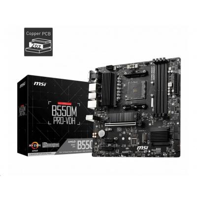 MSI MB Sc AM4 B550M PRO-VDH, AMD B550, 4xDDR4, 1xDP, 1xHDMI, 1xVGA, mATX