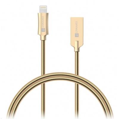 CONNECT IT Wirez Steel Knight Lightning - USB, metallic gold, 1 m