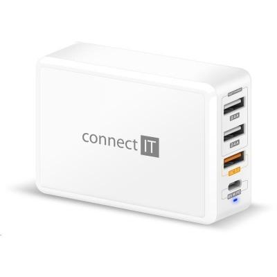 CONNECT IT Fast Charge nabíjecí adaptér 3xUSB-A + 1xUSB-C, QC, 65W PD, bílý