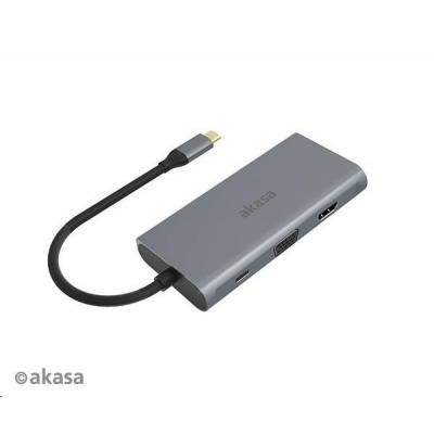 AKASA adaptér USB Type-C 9-in-1 Dock (PD Type-C, HDMI, VGA, 3 x USB 3.0 Type-A, RJ45, SD and Micro SD Card Reader)
