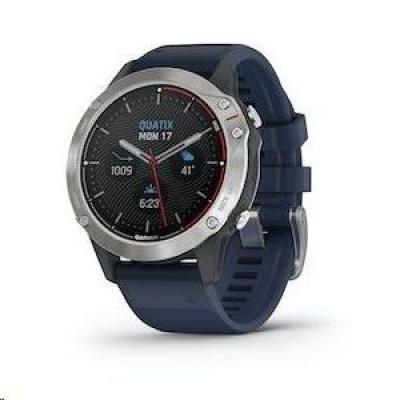 Garmin GPS jachtařské hodinky Quatix6 PRO Glass Silver/Blue Band