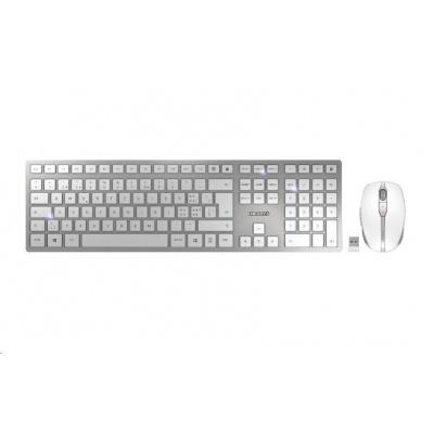 CHERRY set klávesnice + myš DW 9000 SLIM, bezdrátová, EU, stříbrno-bílá