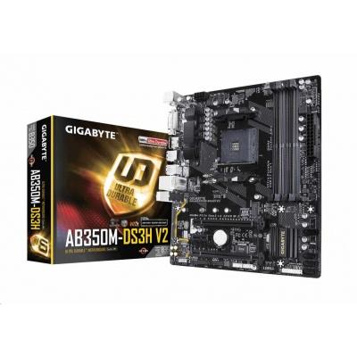 GIGABYTE MB Sc AM4 GA-AB350M-DS3H V2, AMD B350, 4xDDR4, VGA, mATX