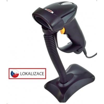 Virtuos CCD čítačka HT-310 s dlhým dosahom, USB (klávesnica / RS232), stojan, čierna