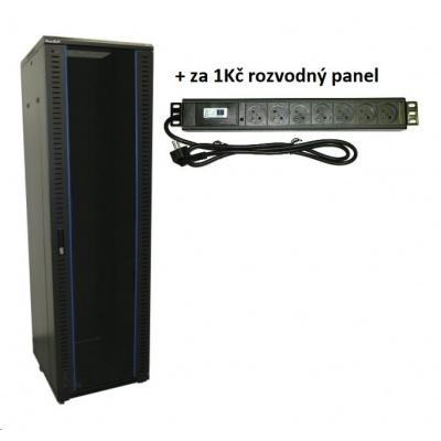 """XtendLan 19"""" stojanový rozvaděč 42U + rozvodný panel za 1Kč,  h=600mm, bezpečnostní sklo, nosnost 500kg,vč.koleček,černý"""