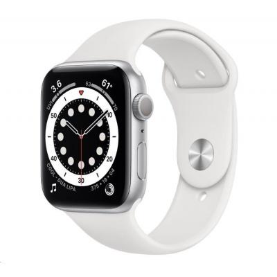 APPLE Watch Series 6 GPS, 40mm stříbrné hliníkové pouzdro + bílý sport řemínek
