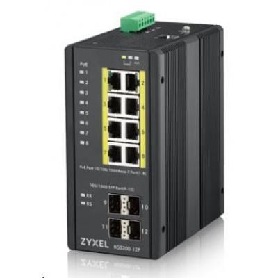 Zyxel RGS200-12P 12-port Gigabit WebManaged PoE switch, 8x GbE + 4x SFP, PoE budget 240W, DIN rail/Wall mount, IP30