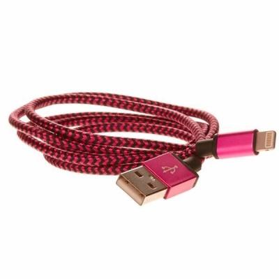 CELLFISH pletený datový kabel z nylonového vlákna, Lightning, 1 m, růžová