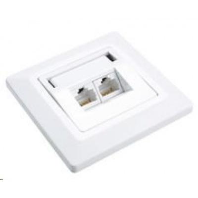 Solarix Zásuvka CAT6 UTP 2 x RJ45 pod omítku bílá SX9-2-6-UTP-WH