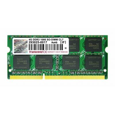 SODIMM DDR3 4GB 1066MHz TRANSCEND 2Rx8 CL7, retail