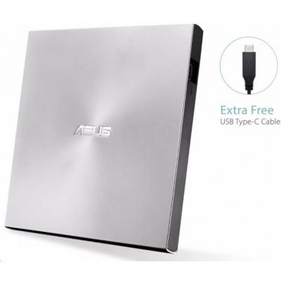 ASUS DVD ZenDrive SDRW-08U9M-U SILVER, External Slim DVD-RW, USB Type-C/Type-A, M-DISC