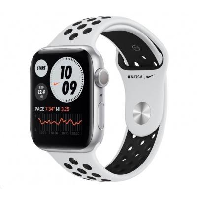 APPLE Watch Nike Series 6 GPS, 44mm stříbrné hliníkové pouzdro + platinový/černý Nike sport řemínek