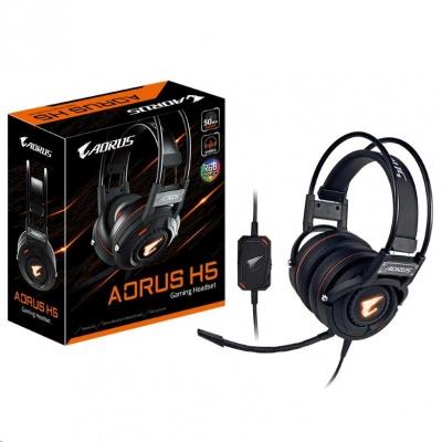 GIGABYTE sluchátka s mikrofonem headset AURUS H5, wired, RGB Lighting, USB/3.5mm