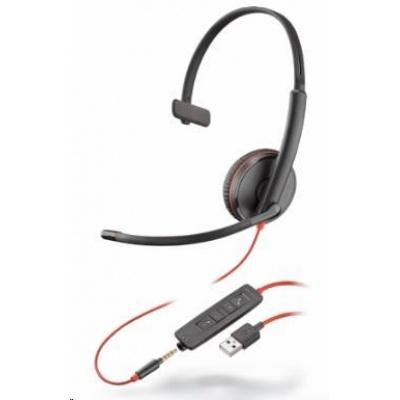 POLY náhlavní souprava BLACKWIRE 3215, USB, 3,5 mm jack, mono