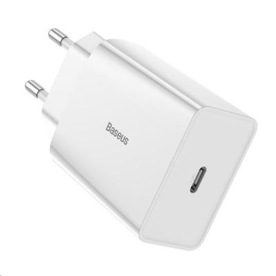 Baseus Speed Mini PD set USB-C adaptéru 18W a kabelu USB-C do Lightning PD 18W 1m, bílá