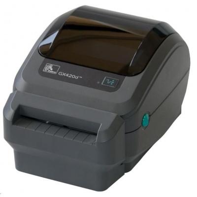 Zebra DT tlačiareň GX420d, 203dpi, EPL2, ZPL II, USB, RS232, LAN, odlepovač (PEELER)