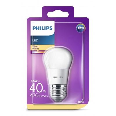 PHILIPS LED žárovka iluminační P45 230V 5,5W E27 noDIM Matná 470lm 2700K Plast A+ 15000h (Blistr 1ks)