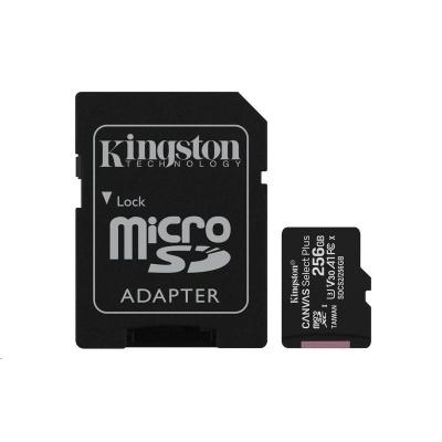 Kingston 256GB micSDXC Canvas Select Plus 100R A1 C10 Card + SD adaptér