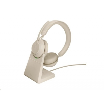 Jabra náhlavní souprava se stojánkem Evolve2 65, Link 380a MS, stereo, béžová