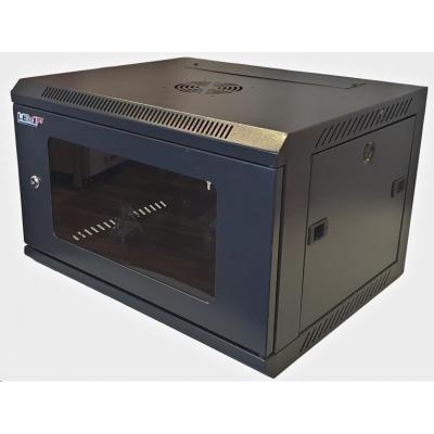 """LEXI 19"""" nástěnný rozvaděč 6U, šířka 600mm, hloubka 450mm, skleněné dveře, nosnost 60kg, svařený, barva černá"""