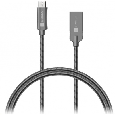 CONNECT IT Wirez Steel Knight Micro USB - USB, metallic anthracite, 1 m