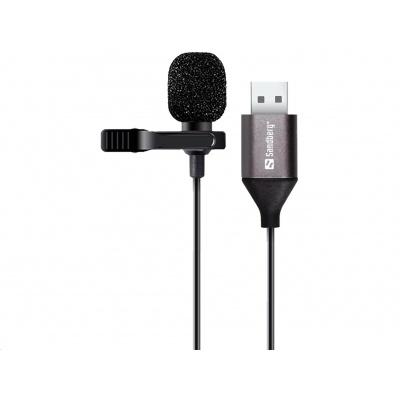 Sandberg klipový mikrofon, USB, černá