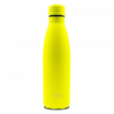 Puro ICON FLUO láhev z nerezové oceli, double wall, 500ml žlutá