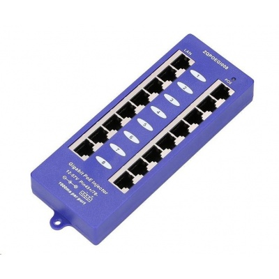 POE injektor panel pasivní, gigabitový - 8 portů, stíněný, svorkovnice